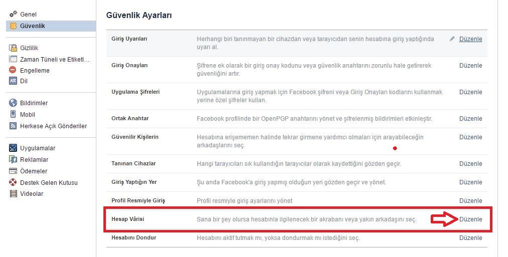 Facebook Güvenlik Ayarları