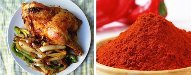 tavuk ve kırmızı sivri biber
