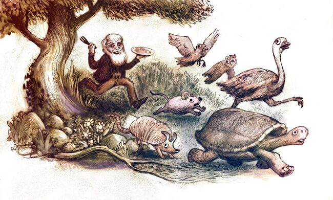 Charles Darwin hayvan yiyor
