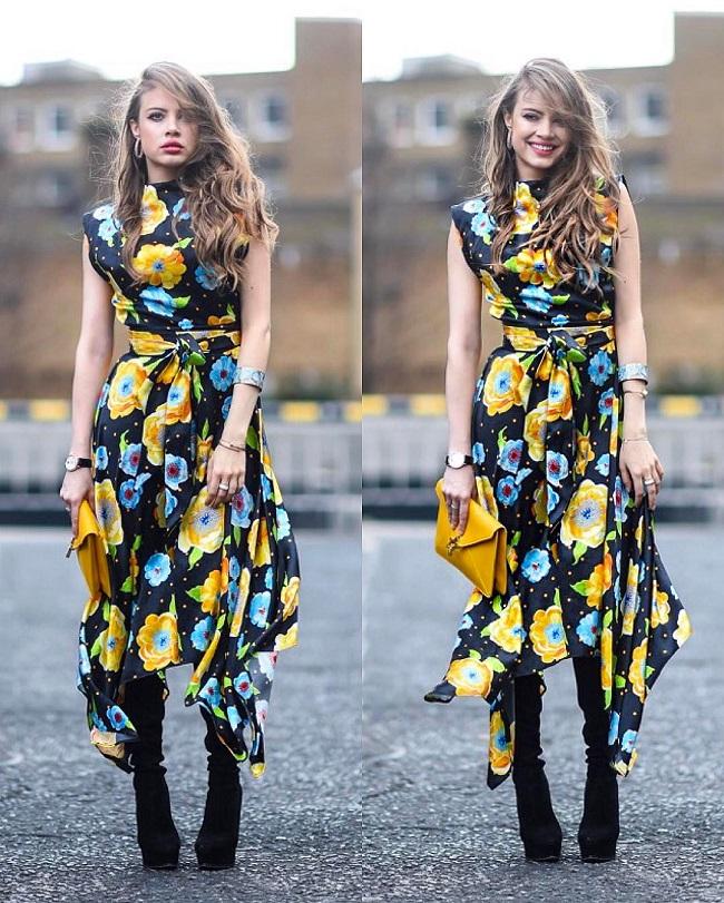 Çiçek basklı elbise