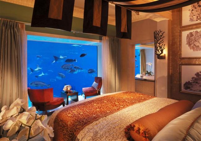 duvarları akvaryum olan otel odası